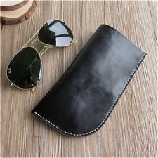 Fashion Black Soft Genuine Leather Glasses Case Cowhide Sunglasses Case Pouch