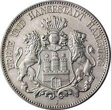 J.65 ville hanséatique de Hambourg 5 Mark argent 1913 ville blason dans münzkapsel
