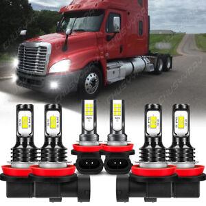 For Freightliner Cascadia 2008-2016 LED Headlight Hi/Lo+Fog Light 6000K Bulb Kit