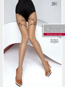 Fiore ROMA 20 Den Pantyhose Tights Hosiery Nylons Size [S] Natural & Black