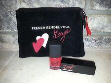 French Rendezous Catherine Malandrino 3 pc nail polish & lipstick cosmetic nwob