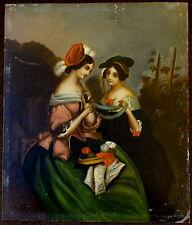 19th Century European Oil Painting on Tin Young Mediterranean Bourgeois Ladies