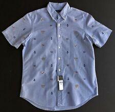 Polo Ralph Lauren Men XL Button Front Nautical Embroidered Oxford shirt NEW