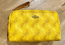 NWT COACH Boxy Coated Canvas Yellow Cosmetic Pouch 20 F84642 Horse & Carriage