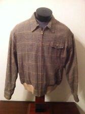 Vintage POLO Ralph Lauren Brown Plaid Woven Silk Golf Varsity Lined Zip Jacket M