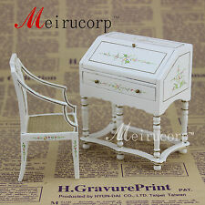 """Fine 1"""" scale dollhouse miniature furniture White painted Writing desk and chair"""
