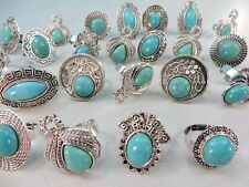 *US Seller*10 rings wholesale turquoise ring antique vintage style jewelry bulk