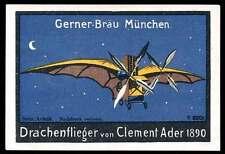 """Germany Poster Stamp - Adv. Gerner-Bräu Beer - Aviatik - Ader's """"Drachenflieger"""""""