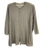 Eileen Fisher Womens Shirt Size 3X Tan 3/4 Sleeve Button Down Semi Sheer Stretch