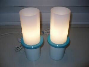 2 Vintage Mid Century Modern Acrylic Turquoise White Cylinder Table Lamps Metal