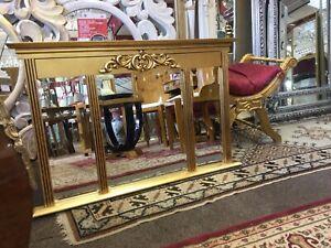 Gold Three Panel Overmantel Mirror