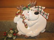 "2000 Fitz And Floyd ""Plaid Christmas"" Reindeer Moose Canape Plate Wall"