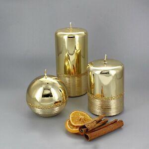 G Decor Gold Glitter Glass Effect Reflecting Plain Gloss Pillar Candles