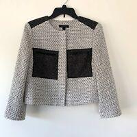 Ann Taylor Black & White Tweed Croped Blazer Suit Jacket Womens Size 8