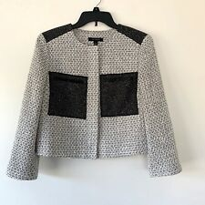 Ann Taylor Black & White Tweed Croped Blazer Suit Jacket Womens Size 8