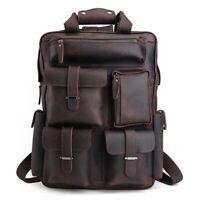 Herren Leder 16 '' Laptop Rucksack Reisetasche Multi Pocket Wandern Handtasche