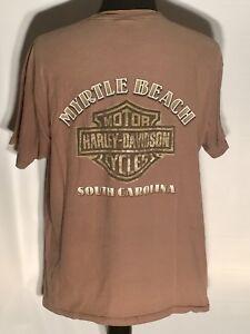 Harley-Davidson Motorcycles Logo Myrtle Beach South Carolina Tan Size XL T-shirt