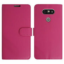 Plain Pink Leather Wallet Book Protect Phone Case for Apple iPhone 4 5 6 7 8 & X LG LG K5