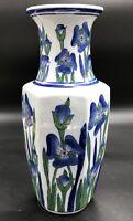 """Vintage Hand Painted Porcelain Asian Vase, 12"""" Blue Floral (Irises)"""