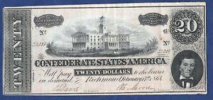 Confederate States Twenty Dollars Banknote 1864
