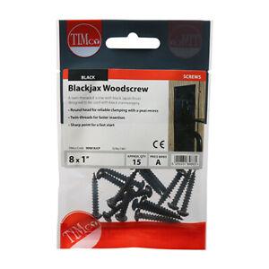 Blackjax Wood screw - PZ - Round - Black 8 x 1