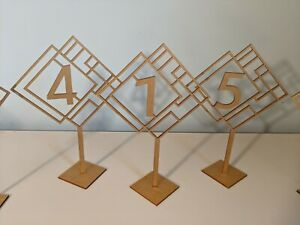 Wedding Table Numbers Gold Numbers 1-18 MDF Wood Gold Glitter
