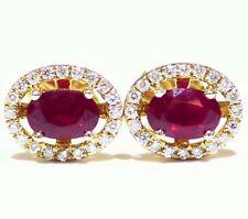 1.52ct 14k oro rubino naturale Diamante taglio rotondo Bottone aureola