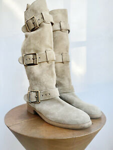 BURBERRY Beige Tan Suede Gold Tone Buckle Strap High Ankle Flat Boots 38.5/8.5