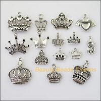 50pcs Mixed Lots of Tibetan Silver Tone Crown Charms Pendants HOT Wholesale!