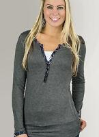 Womens Henley Gray Long Sleeve Shirt with Pink & Purple | Muddy Girl Camo