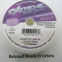 """Soft Flex Sterling Silver Plated .024"""" Heavy Extreme Beading Jewelry Wire 30'"""