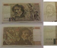 100 Francs Delacroix 1991 palindrome 551155 sans trou ni coupure