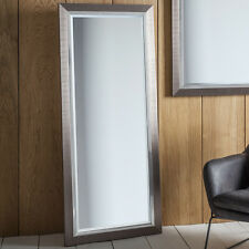 "Rylston Wide Large Brushed Metal Chrome Effect Floor Leaner Wall Mirror 61""x26"""
