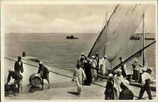 PORT SAID Vintage Post Card ~1920/30 Hafen Schiff Verladung Personen Transport