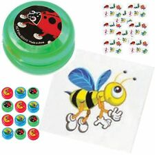 AJPSales Insect Tattoos And Mini YoYo Party Pack - 12 Colorful Yo Yo's And 14...