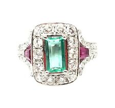 Estate Emerald, Ruby & Diamond Ring in Platinum - HM1541