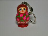 #16 Wooden Hand Painted Russian Doll  Matryoshka Nesting Dolls Keychain Gift