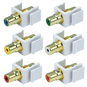 RCA Keystone Jack Insert Audio Video Coupler Adapter Snap In Wall Plate White