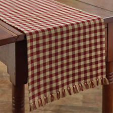 """Park Designs Country Red & Tan Check 13""""x54"""" Table Runner - """"Gingham"""""""