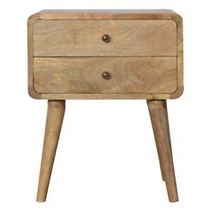 2 Drawer Curved Bedside Table Solid Mango Wood Oak Scandi Handmade Furniture