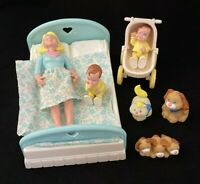 1993 Fisher Price LOVING FAMILY Dream Dollhouse Mom Twin Baby Boys Pets Lot of 8
