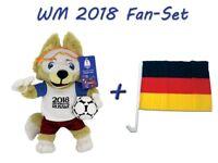 FIFA WM 2018 Fan-Set (Plüsch Maskottchen Zabivaka 35cm + Deutschland Autofahne)