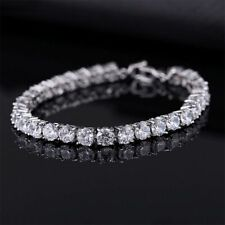 Mens Chain Bracelet Cubic Zirconia Out 8 Inch Cuban Link Diamon Silver Gold New