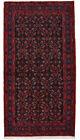 Vintage Tribal Oriental Hamadan Rug, 4'x8', Black/Blue, Hand-Knotted Wool Pile