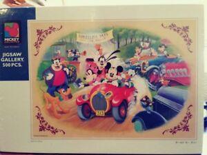 Old Disney Tenyo Jigsaw Puzzle 500 pcs - Mickey Old Car Rally D-500-303