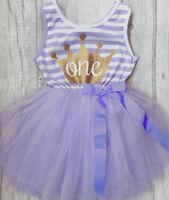 GIRL'S BIRTHDAY Purple TUTU DRESS Party PRINCESS Present GIFT Cute Baby Girl