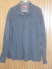 Wrangler Mens Blue Plaid Flannel Long Sleeve Button Front Shirt Cotton 3XL