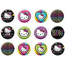 HELLO KITTY Neon Tween BUTTONS (12) ~ Birthday Party Supplies Favors Pins Sanrio
