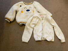 Baby Girl White Cardigan Bear Jumper Sweat Size 9-12 Months F&F And Other