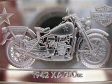 1.4OZ.999 PURE SILVER 90TH ANNIVERSARY INGOT 1942 XA 750cc HARLEY DAVIDSON+GOLD